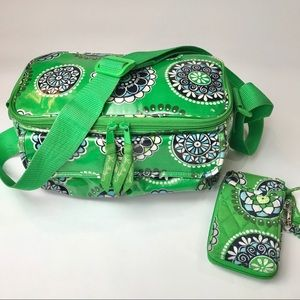 Vera Bradley Green Floral Lunch Tote/Wallet Set